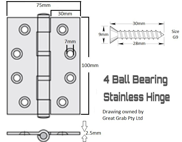 2 X Stainless Steel Ball Bearing Butt Hinge Great Grab